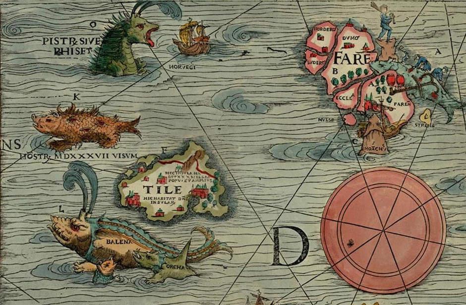 Средневековая карт с упоминанием острова Туле. Изображение: NASA