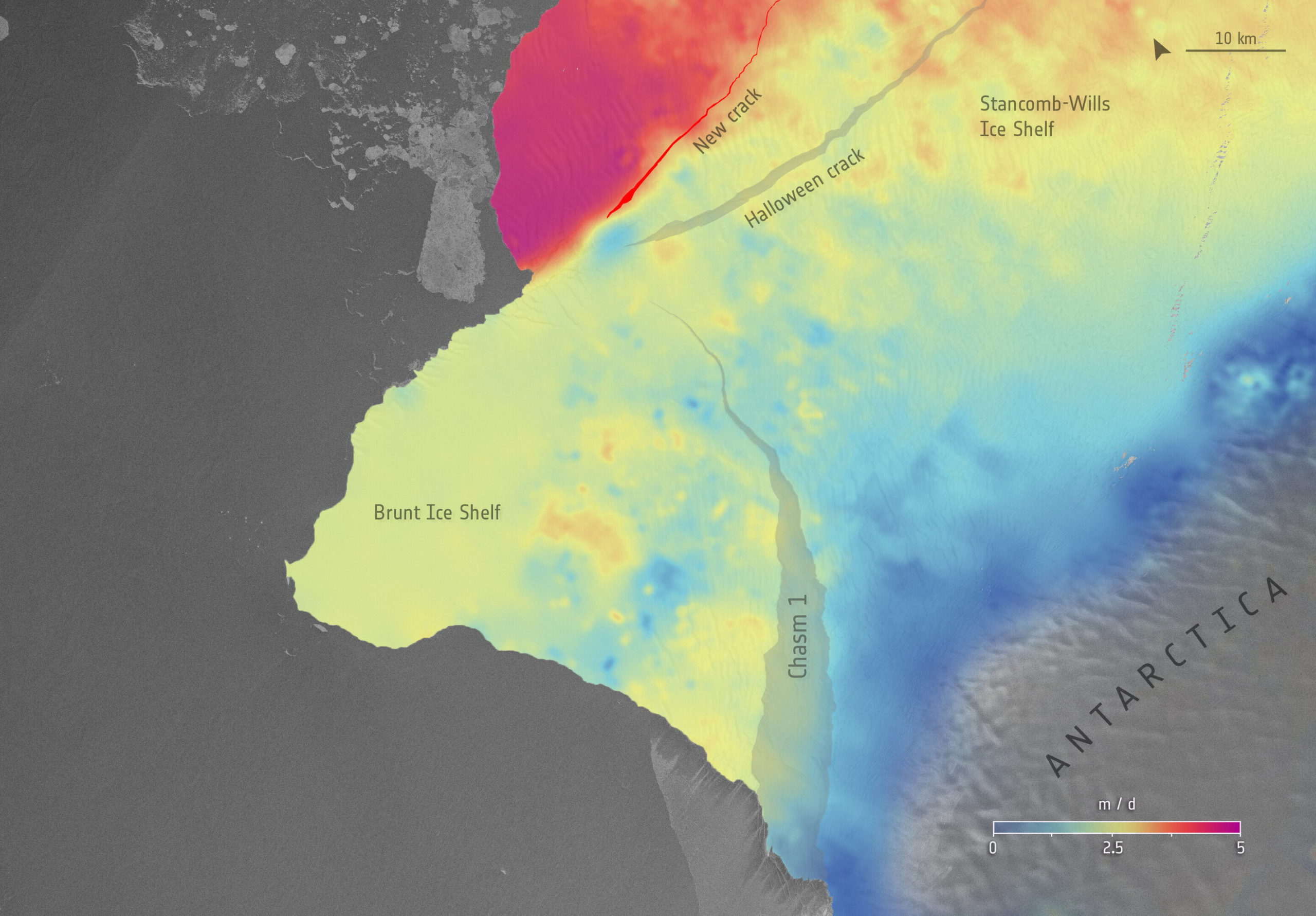 Шельф Бранта в Антарктиді руйнується зі швидкістю 5 метрів на добу
