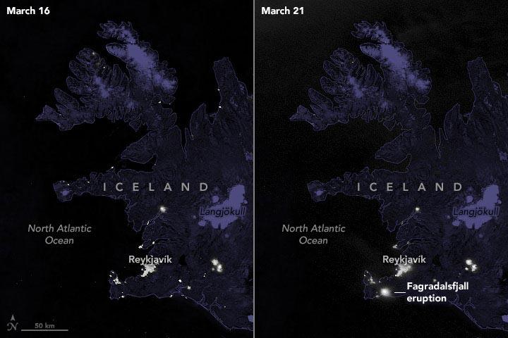 У НАСА показали, як виглядає виверження вулкана в Ісландії з космосу